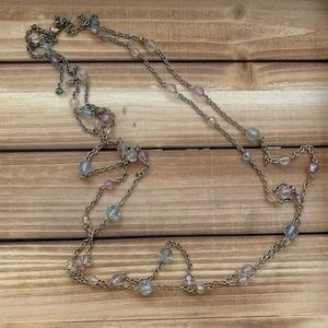 Multi strand bead and chain necklace